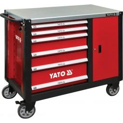 Шкаф сервисный Yato для инструментов на 6 шухляд с тумбочкой – стальная столешница (YT-09002)